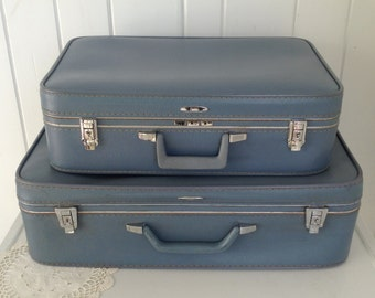 "2 Vintage Sears Feather Lite a Light Blue Suitcase Luggage ~ Medium 25.5 X 18.5 x 7  Small  21"" x 15"" x 6""  One Key Included"