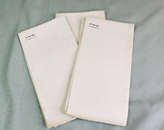 Linen napkins- Set of three vintage/ antique linen napkins made by H.J. Stotter, Inc., N.Y.C.- ivory, ecru- 16-1/2 inches square- unused