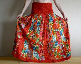 Long skirt - Gypsy Skirt - Patchwork Maxi Skirt - Peasant Skirt by Chandrika Shop - Orange Red multicolored skirt