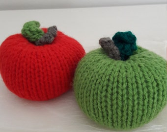 Apples in Gift Bag. Two Apples. Red and Green . Hand Knit . Ornament. Pin Cushion. Play Food