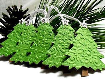 Embossed Green Christmas TREE Tags