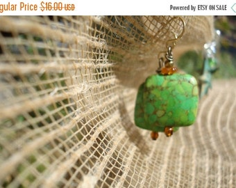 Jewelry Earrings  Earthy Tones of Amber and  Green Turquoise Squares  Wrapped with  Naturally Red  Copper