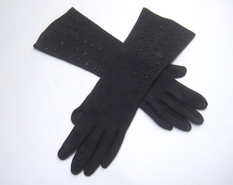 Elegant Black Cloth Beaded Gloves c 1960