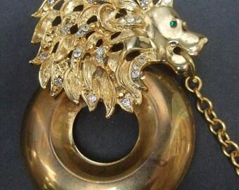 Massive Gilt Metal Diamante Crystal Lion Brooch c 1980s