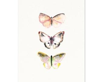 Watercolor butterfly wall art.  Pink Butterflies.  Gray Butterfly Art.