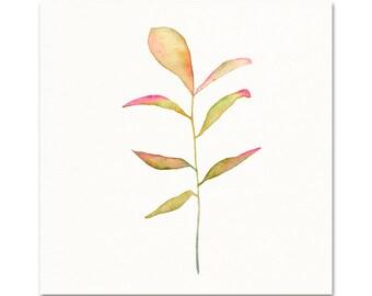 Watercolor Botanical Art Print. Soft Pink & Yellow Watercolor Plant Painting. Minimalist Botanical Art. Zen Nursery Nature Art. Vintage Art.