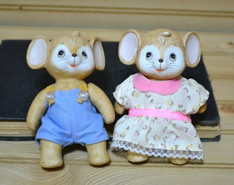 Vintage Homco Mice Mouse Figures Figurines Jointed Made in Taiwain Porcelain Ceramic Home Decor