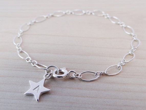 Silver Bracelet With Personalised Star - Sterling Silver