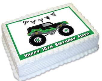 Monster Truck Personalised A4 Edible Cake Topper