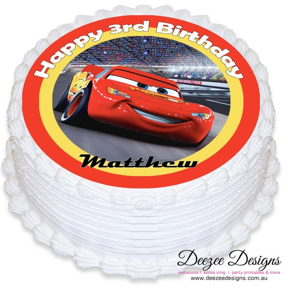 Edible Cake Decorations Cars : Cars Lightning McQueen Personalised Round Edible Icing ...