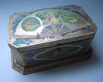 Vintage Artstyle Chocolate Tin With Renaissance Images