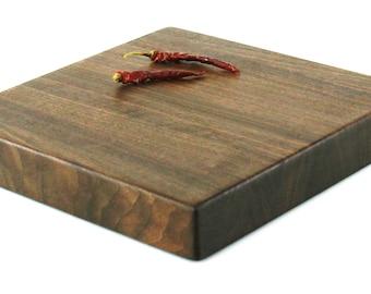 "Butcher Block Cutting Board - Edge Grain -Thick Chopping Board - Black Walnut - 10""x10""x1-1/2"" - Ready to ship"