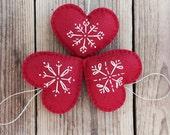 Nordic Felt Heart Ornaments -set of 3