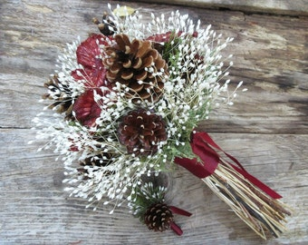 Red and White Pinecone Wedding Bouquet - Cranberry Forest Glade - Pine, Evergreen, Osage & Lapsana