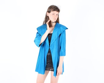 90s Holographic Metallic Aqua Blue Futuristic Slouchy Trench Coat Anorak Jacket w/ Dramatic Collar