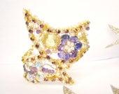 Purple Amethyst cuff - statement cuff - cuff bracelet - Lemon Quartz Cuff Bracelet Gold cuff bracelet Bridal bracelet -Winter Masquerade