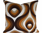 Vintage 70s Brown Psychedelic Fabric Cushion Cover