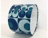 RESERVED- Original Vintage 70s Fabric Drum Lampshade Ceiling Pendant Blue