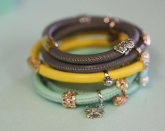 Yellow Magnetic Clasp Leather double wrap bracelet-Mixed metal Pandora Charm Bracelet Bangle Cuff-Snowflake Charm-Heart Pendant Charm-Summer