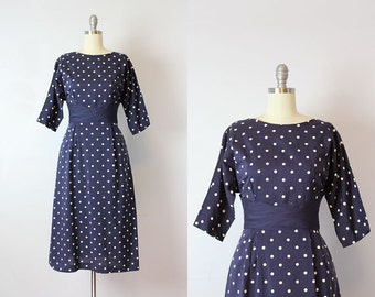 vintage 50s dress / 1950s polka dot dress / navy blue and white polka dot dress / dotted wiggle dress / Pretty Perfect dress