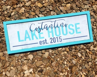 Lake House Sign. Beach House. Personalized family sign. Family name sign. Established sign. Painted wood sign.
