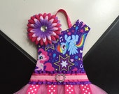 Tutu HairBow Holder My Little Pony Inspired Horse Purple Hot Pink Polka DotRainbow Birthday Gift