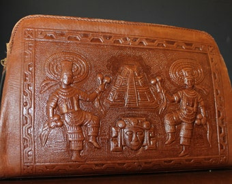 Vintage Leather Bag Mexican Hand Tooled Leather Purse Brown Leather Handbag Aztec Artwork Handmade Accessories Leather Pocketbook Women Gift