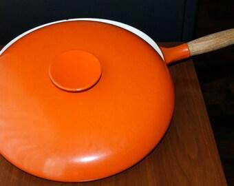 Michael Lax Copco Cast Iron Pot Orange Enamel Pan Mid Century Modern Kitchen Vintage Saucepan Danish Modern Kitchen Retro Cookware Eames