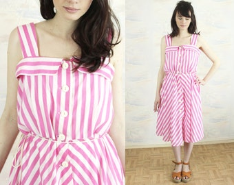Striped summer dress ,M toL ,beach dress,strap dress,sun dress,full skirt dress,pink and white dress,full skirt dress,cotton dress,Large