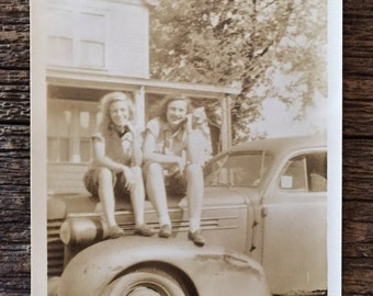 Original Vintage Photograph Girls on Truck