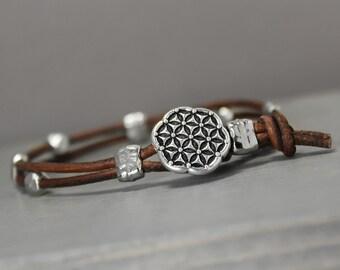 Brown Leather Bracelet, Flower of Life Bracelet, Boho Bracelet, Wrap Bracelet, Leather Button Bracelet, Leather Wraps, Leather Jewelry,