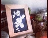 Framed Lace on Denim Textile Art