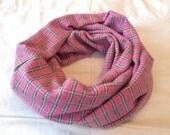 Soft Pink Plaid Infinity Scarf