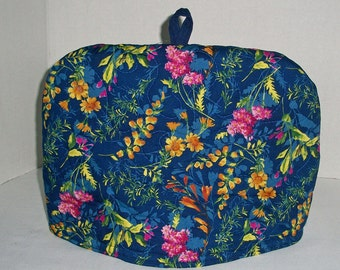 Flower Garden on Royal Blue - Quilted Dome Tea Cozy with Trivet