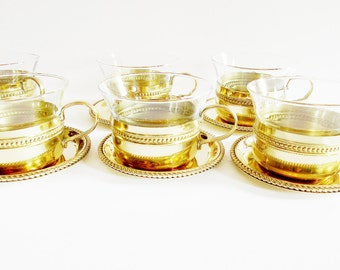 Vintage Tea Set, or Coffee Set with Cups and Coasters, SET of Six pieces, Golden Metal Material, Modern Housewares, Barware from the 70s