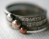 Mixed Metal Beaded Stacking Rings/ Silver, Copper, and Brass Stacking Rings/ Rustic Stacking rings/ Minimalist Ring/ Stacking rings