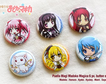 Puella Magi Madoka Magica 6pc Button Set
