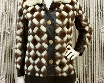 1960s Ultra Mod diamond pattern patchwork cream and brown mink and leather coat