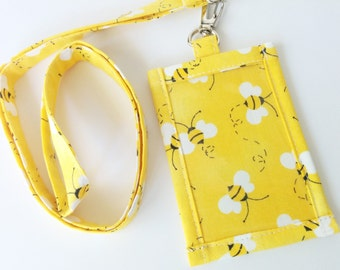 ID Holder, Honey Bee Print Cotton Clip On  ID Holder with Hidden Cash Stash with Matching Lanyard