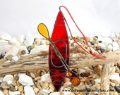 MADE TO ORDER - Stained Glass Kayak Sun catcher - Red Suncatcher - Window Ornament - Kayaking Art - Graduation - Father's Day Gift
