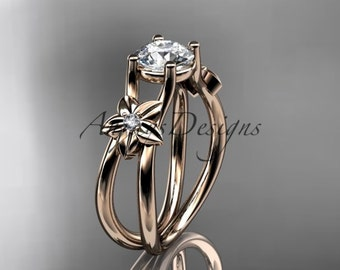 "14kt rose gold diamond floral wedding ring, engagement ring with a ""Forever One"" Moissanite center stone ADLR130"