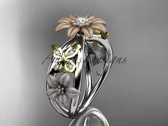 14kt tri color gold floral diamond unique engagement ring,wedding ring ADLR171