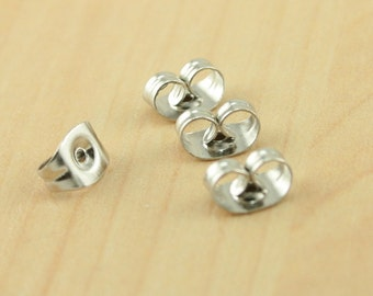 Stainless Steel 100 (50 pair) Earring Backs for use with Stud Post Earrings, Ships from USA.  Approx 4.5x6x3.5mm