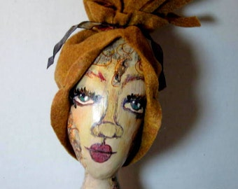 Tall Art Doll, OOAK Mixed Media Art Doll Flapper Style Figure
