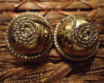 Vintage Silver Dome Shape Ear Clips with Rope Design