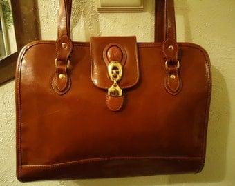 Vintage 1990s Caramel Tan Leather Square Shaped Handbag With Gold Colored Hardware Details