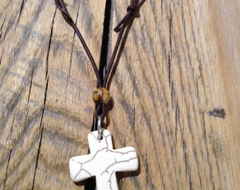 Leather Necklace, Brown Leather Necklace, Adjustable Necklace, Cross necklace