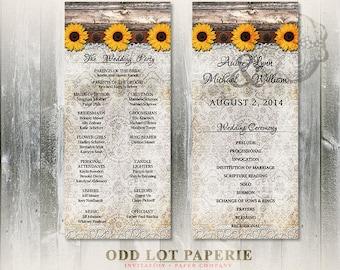 Rustic Sunflower Wedding Programs, Rustic Wood Plank Sunflower & Lace Wedding Ceremony Programs, DIY Rustic Sunflower Wedding Printable
