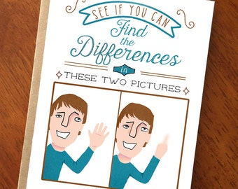 Smart Ass Card; Snarky Funny Card; Find the Differences; People Magazine; Crass and Funny Card