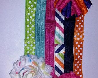 Colorful Interchangeable Headband Set – Elastic Headbands – DIY – Baby Shower – Shabby Flowers - Hair Bows